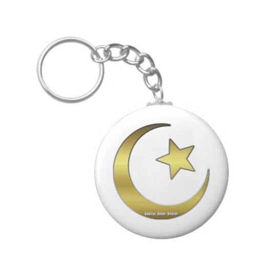 Gold Star and Crescent Basic Button Keychain