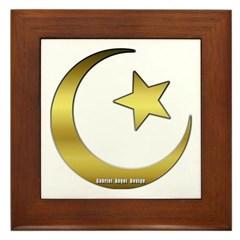 Gold Star and Crescent Framed Tile