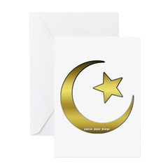 Gold Star and Crescent Greeting Cards (Pk of 20)