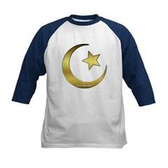 Gold Star and Crescent Kids Baseball Jersey T-Shirt