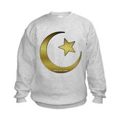 Gold Star and Crescent Kids Crewneck Sweatshirt by Hanes