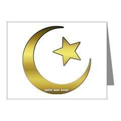 Gold Star and Crescent Note Cards (Pk of 10)