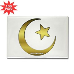 Gold Star and Crescent Rectangle Magnet (100 pack)