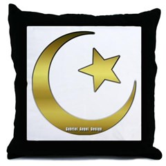 Gold Star and Crescent Throw Pillow