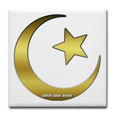 Gold Star and Crescent Tile Coaster