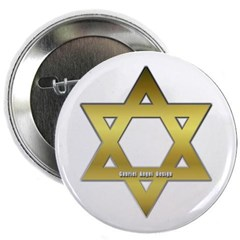 """Gold Star of David 2.25"""" Button"""