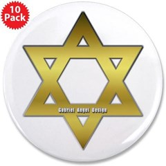 "Gold Star of David 3.5"" Button (10 pack)"