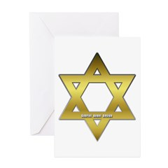 Gold Star of David Greeting Cards (Pk of 10)