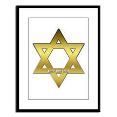 Gold Star of David Large Framed Print