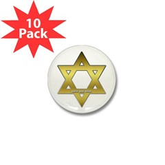 Gold Star of David Mini Button (10 pack)