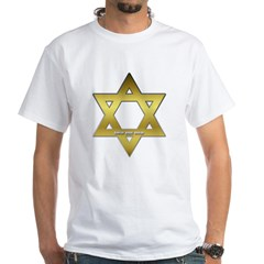 Gold Star of David White T-Shirt
