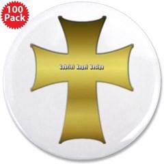 """Golden Cross 3.5"""" Button (100 pack)"""