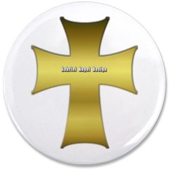 "Golden Cross 3.5"" Button"