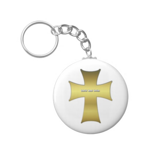 Golden Cross Basic Button Keychain