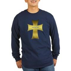 Golden Cross Long Sleeve Dark T-Shirt