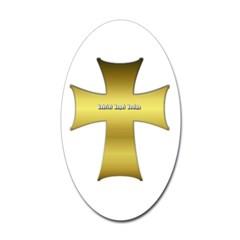 Golden Cross Oval Decal