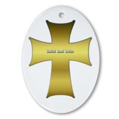 Golden Cross Oval Ornament