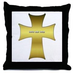 Golden Cross Throw Pillow