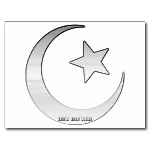 Silver Colored Star and Crescent Symbol Postcard