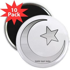 """Silver Star and Crescent 2.25"""" Magnet (10 pack)"""