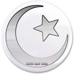 """Silver Star and Crescent 3.5"""" Button"""