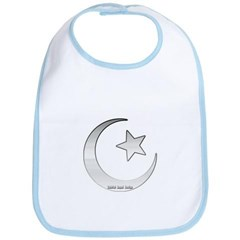 Silver Star and Crescent Baby Bib