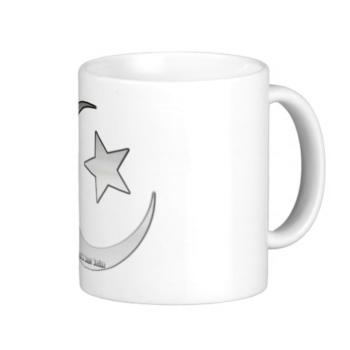 Silver Star and Crescent Classic White Mug