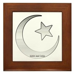 Silver Star and Crescent Framed Tile
