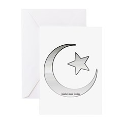 Silver Star and Crescent Greeting Card