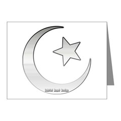 Silver Star and Crescent Note Cards (Pk of 10)