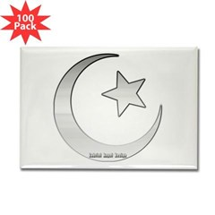 Silver Star and Crescent Rectangle Magnet (100 pac