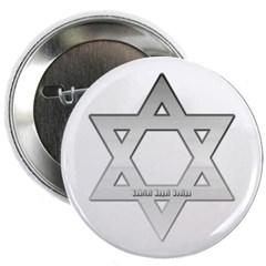 "Silver Star of David 2.25"" Button"