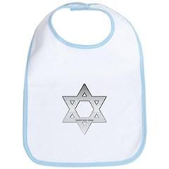 Silver Star of David Baby Bib