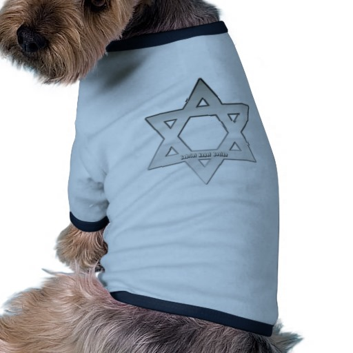 Silver Star of David Doggie Ringer T-Shirt