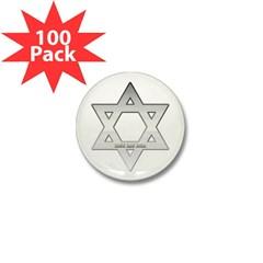 Silver Star of David Mini Button (100 pack)