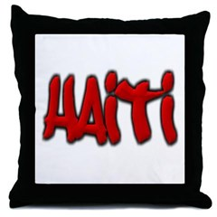 Haiti Graffiti Throw Pillow