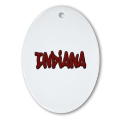 Indiana Graffiti Ornament (Oval)