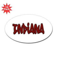 Indiana Graffiti Oval Decal 10 Pack