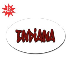 Indiana Graffiti Oval Decal 50 Pack