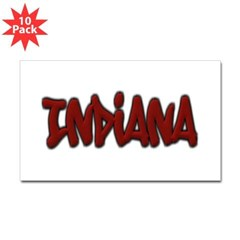 Indiana Graffiti Rectangle Decal 10 Pack