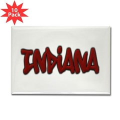 Indiana Graffiti Rectangle Magnet (10 pack)