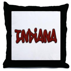 Indiana Graffiti Throw Pillow