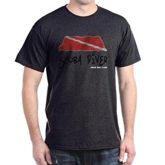 Scuba Diver Waves Dark T-Shirt