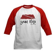 Scuba Diver Waves Kids Baseball Jersey