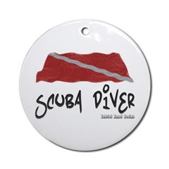 Scuba Diver Waves Ornament (Round)