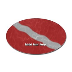 Scuba Diver Waves Oval Decal