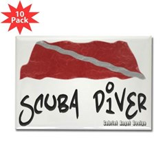 Scuba Diver Waves Rectangle Magnet (10 pack)