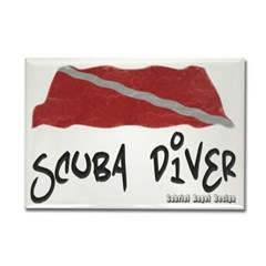 Scuba Diver Waves Rectangle Magnet