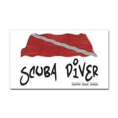 Scuba Diver Waves Rectangle Sticker