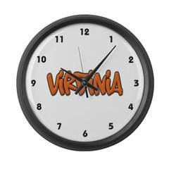 Virginia Graffiti Large Wall Clock